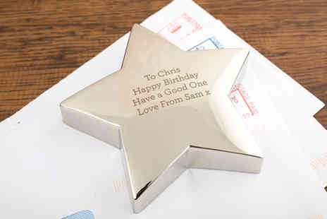 Getting Personal - Engraved Silver Plated Star Paperweight - Save 47%