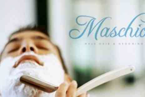 Maschio - Mens Grooming Package With Cut Throat Shave Plus Haircut and Finish - Save 70%