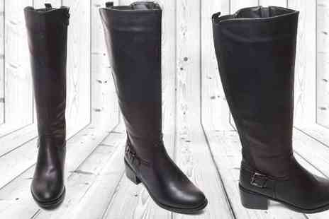 Etail FS  - Black High Leg Boots with Block Heel - Save 35%