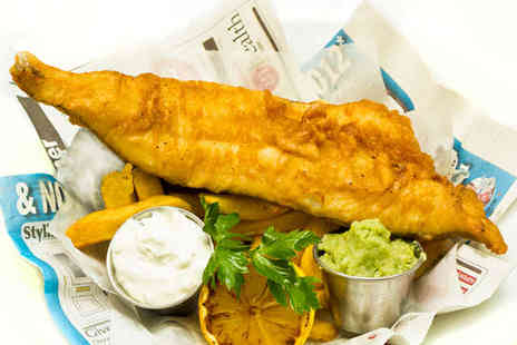 Key West Restaurant - Beer Battered Cod and Chips with Mushy Peas, Tartare Sauce, and a Glass of Wine Each for Two   - Save 54%