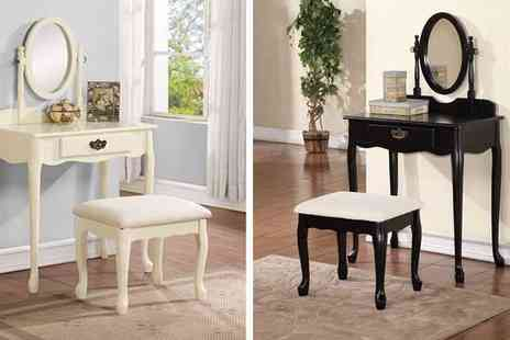 Mattress Shed - Queen Anne Dresser with Mirror & Stool - Save 49%