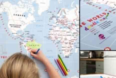 Maps International - Doodle World Map with crayons - Save 52%