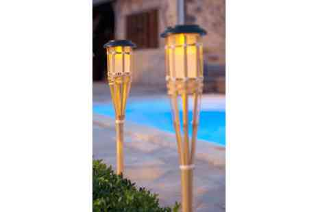 SSSuperstore -  2x solar garden eco bamboo lights  - Save 50%