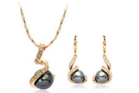 Cocobury - 18k gold plated simulated black pearl set - Save 0%