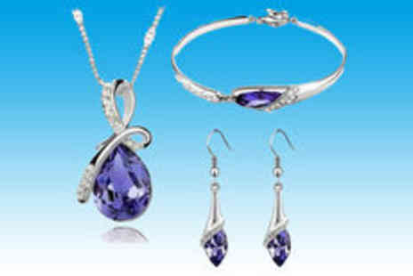 Gevani - Violet teardrop necklace set - Save 33%