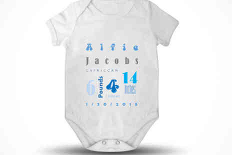 Tailor made gifts - Personalised Baby Vest in a Choice of Size, Delivery Included - Save 65%
