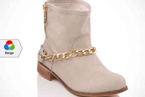 Unze - Womens Chain Detail Ankle Boots in Beige, Black, or Camel, Delivery Included - Save 62%