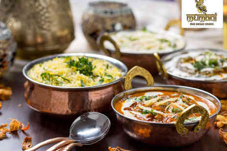 Mumbai Restaurant - Poppadoms and Pickle Tray with Main Course Each and Naan and Pilau Rice to Share for Two  - Save 53%