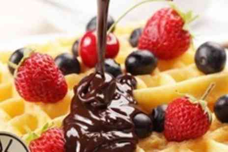 Kula Cafe - Four Waffles With Belgian Chocolate and Straciatella Ice Cream Plus Hot Fudge Sauce - Save 62%