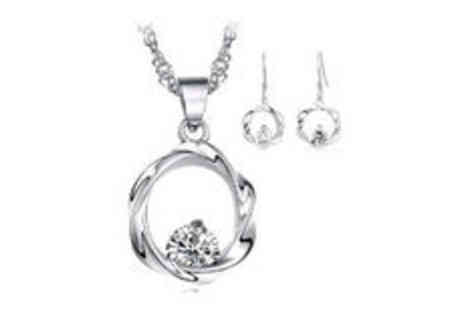 Gevani - Austria crystal silver plated hoop set - Save 0%