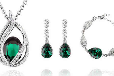 Gevani - Emerald green water drop crystal set - Save 0%