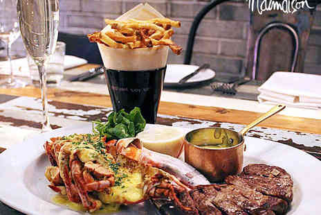 Malmaison - Steak and Lobster Main Course with Pomme Frites and a Glass of Prosecco Each for Two  - Save 50%