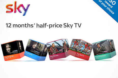 Sky TV  -  Up to 50% Off Sky TV for 12 Months and £50 Reward - Save 0%