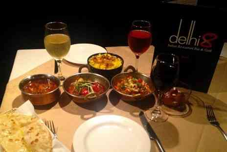 Delhi 8 Kitchen & Bar - Indian Meal With Sides and Wine For Two  - Save 58%
