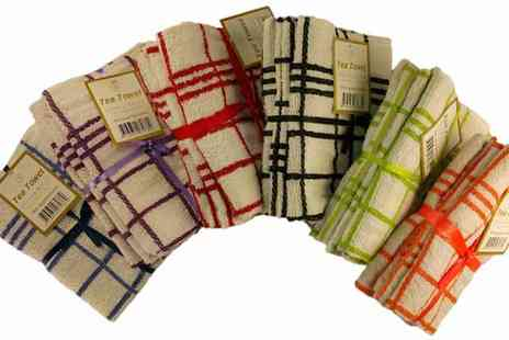 RZK Textiles  - Pack of 12 Egyptian Cotton Tea Towels - Save 36%