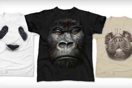 Printed Wardrobe - Big Face Animal T Shirts in Choice of Design - Save 50%