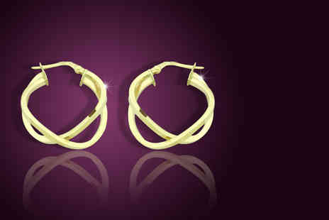 British Gem - Small pair of 9ct gold twisted hoop earrings  - Save 51%