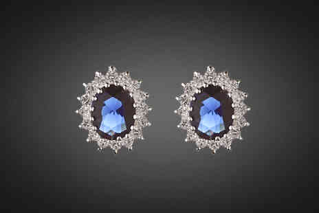 Avatora international - Blue Cubic Zirconia Encrusted Earrings - Save 83%