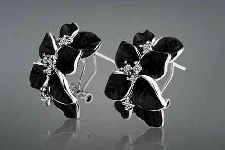Cocobury - Black 18K White Gold Plated Earrings - Save 81%
