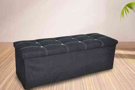 P&N Homewares - Black or Grey Faux Suede Ottomans - Save 54%