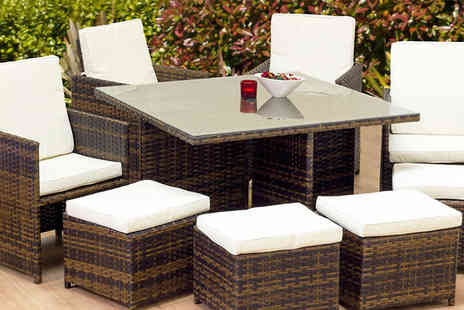 Cozy Bay - Eight  Seat Garden Rattan Furniture Set - Save 62%