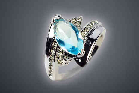 bag a bargain - 10K White Gold Filled Aquamarine Ring - Save 84%