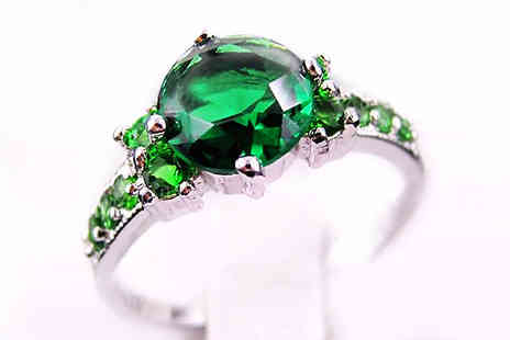bag a bargain - 10K White Gold Filled Emerald Ring - Save 84%