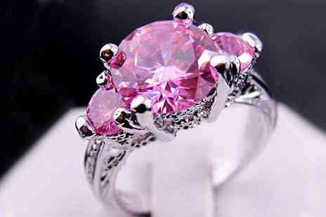 bag a bargain - 10k White Gold Pink Sapphire Ring - Save 84%