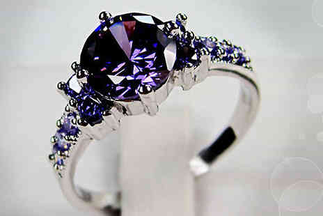bag a bargain - 10K White Gold Filled Amethyst Ring - Save 84%