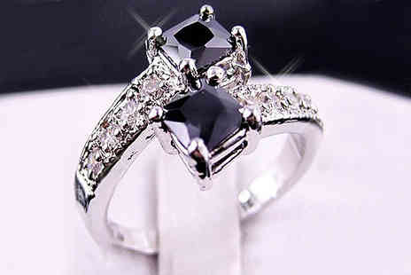 bag a bargain - White Gold Filled Black Sapphire Ring - Save 84%