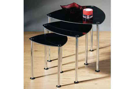 Premier Housewares - Nest of 3 Black Tables - Save 70%