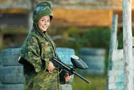 Unreal Paintball  - Paintballing day for Five  people including lunch and 200 paintballs each  - Save 96%
