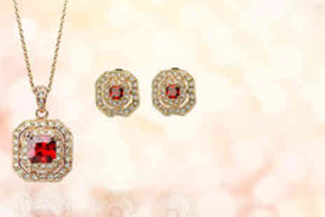 Gevani - 18k gold plated red crystal set  plus delivery - Save 0%