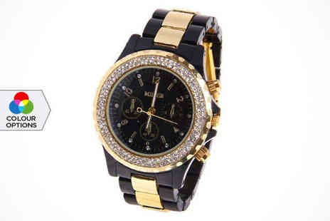 Miler Crystal Watch - Miler Womens Crystal Watch in Black, White, or Tortoiseshell, Delivery Included - Save 67%