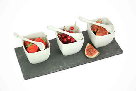4 Piece Square Tapas Set - Square Bowl Slate Tapas Set  - Save 37%