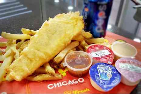 Chicago Gourmet Burger - Fish and Chips With Hot or Cold Drinks For Two - Save 40%