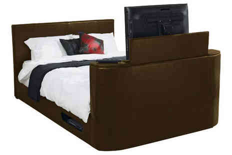 Ventura Incorporated - Pneumatic Double TV Bed in Brown Faux Leather - Save 50%