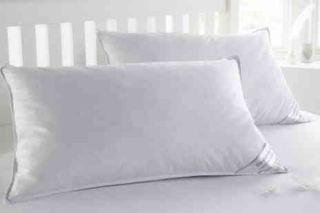 Textiles Direct - 2 White Goose Feather & Down Pillows - Save 69%