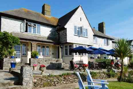 Trevalsa Court Hotel -  Highly Rated Seaside Dinner & Bubbly for Two  - Save 55%