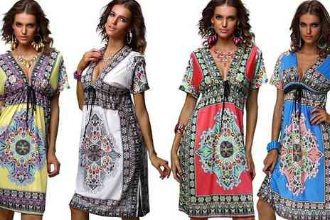Beaches crazy - V Neck Boho Dress - Save 75%