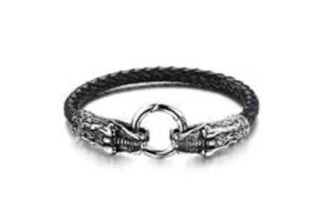 Cocobury - Charles mens leather bracelet  plus delivery  - Save 0%