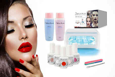 3weeknails - At Home Gel Nails Starter Kit Including Four UV Gel Polishes and UV Lamp - Save 76%