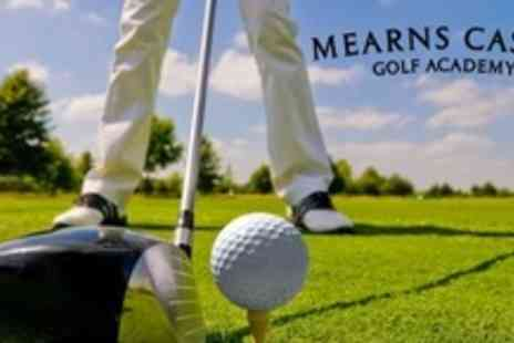 Mearns Castle Golf Academy - Golf Package Including 18 Holes, Food, and 50 Driving Range Balls - Save 62%