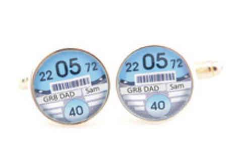 The Keepsake Shop - Personalised Tax Disc Cufflinks in a Choice of Colours - Save 40%
