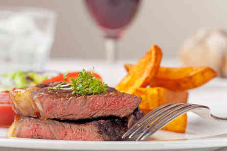 The Space  - Steak Meal with a Glass of Wine for Two - Save 68%