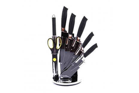 Smart Living - Eight  Piece Non Stick Coated Knife Set & Stand - Save 44%