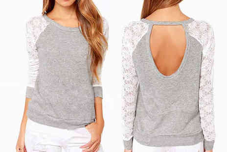 Beaches crazy - Lace Sleeve Grey Blouse - Save 71%