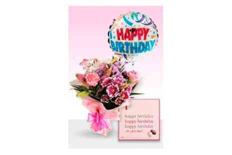 Delightful Bouquets - Pink cerise bouquet  Plus a birthday balloon & chocolates  - Save 20%