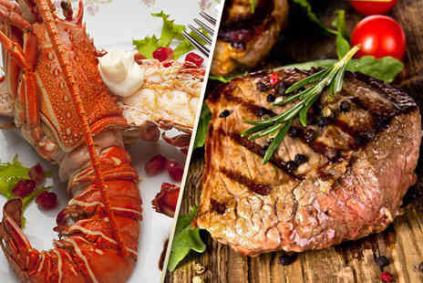 The Lobster House - Surf and turf meal for 2 including a glass of Prosecco each - Save 57%
