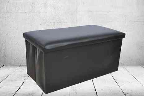 P&N Homewares - Faux Leather Foldable Ottoman in 4 Colour Choices - Save 72%